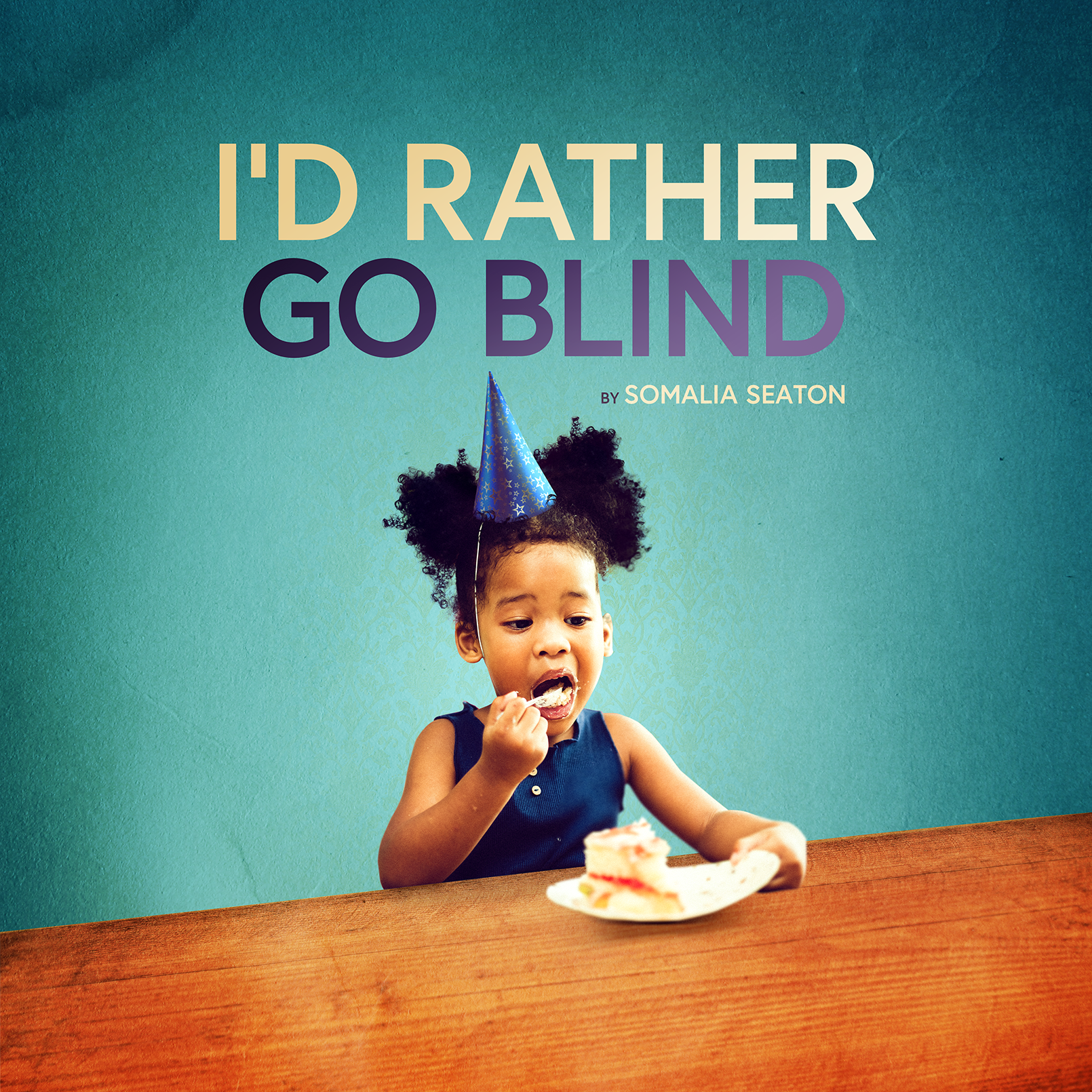 "A young girl with a birthday hat on eats cake. ""I'd Rather Go Blind"" titles the image."