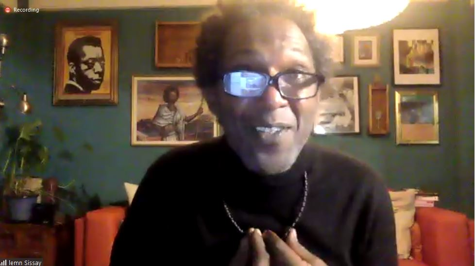 Lemn Sissay talking at the Anne Peaker lecture, via Zoom